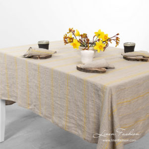 Natural linen color tablecloth, washed