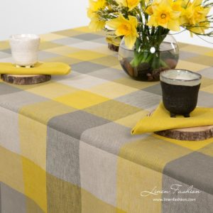Linen cotton checked tablecloth in grey yellow colors - Linen Fashion.