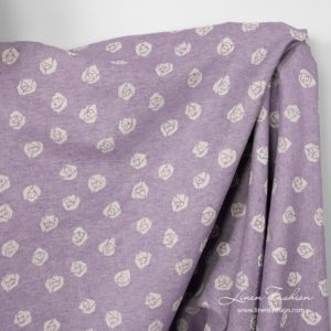 Violet linen cotton fabric with roses