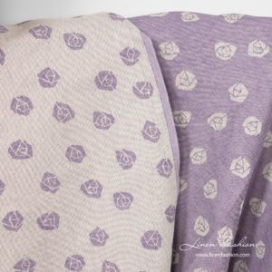 Violet linen cotton fabric, double - sided